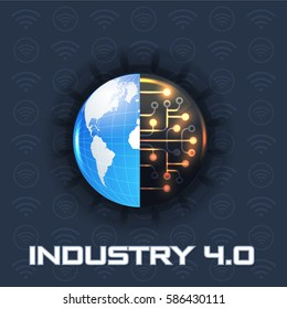 Industry 4.0 Concept Business Control, Earth Icon Presentation Design. Internet of Things, Cloud Computing, Wireless and Network, Future, Automation Illustration Symbol Template