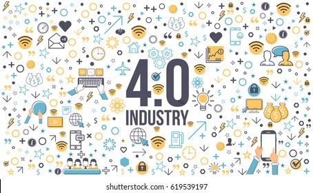 Industry 4.0 Concept Business Control, Web Infographics Elements
