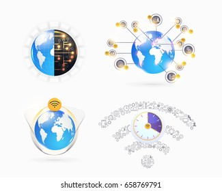 Industry 4.0 Concept Business Control, Earth Icon Presentation Design. Internet of Things, Cloud Computing, Wireless and Network, Future, Automation Illustration Symbol Template Set