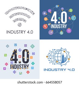 Industry 4.0 Concept Business Control, Thin Line Icon Presentation Design Set. Internet of Things, Cloud Computing, Network, Future, Automation Detailed Illustration. Flat Web Infographics Collection