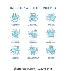 Industry 4.0 concept icons set. CPS usage idea thin line RGB color illustrations. IIoT. Increasing profit margins. Industrial control system. Vector isolated outline drawings. Editable stroke