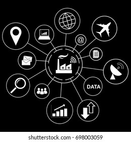 Industry 4.0 concept, smart factory with Business icon.