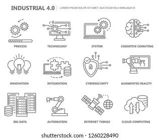 Industry 4.0 Icon Set. Flat Design. Vector Illustration.