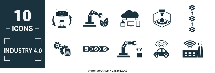 Industry 4.0 icon set. Include creative elements automation, data management, business intelligence, horizontal integration, osi model icons. Can be used for report, presentation, diagram, web design.
