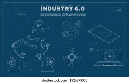 Industry 4.0 with industrial elements (robotic arms, cloud computing, cpu chipset, gears and wifi 6 connection). Blueprint concepts. EPS 10 vector