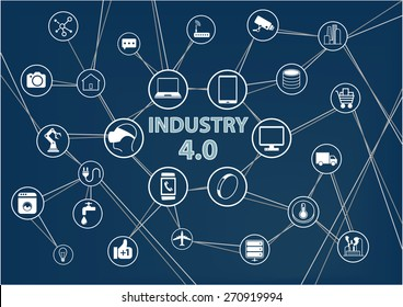 Industry 4.0 industrial internet of things (IIOT) background. Vector illustration of industrial connected devices like mobile phone, robots, sensors, objects. Dark blue color scheme.