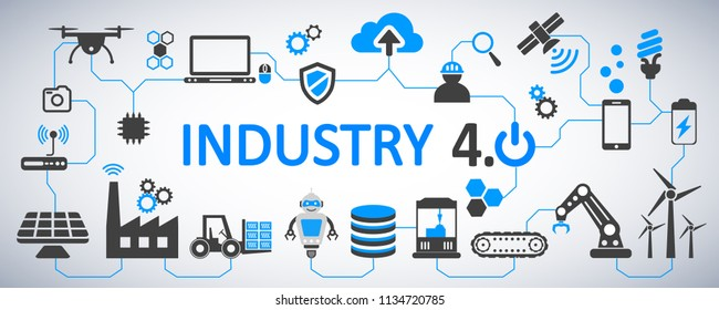 Industry 4.0 infographic factory of the future – vector
