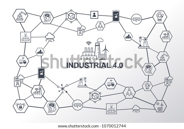 Industry 4.0 infographic and Smart manufacturing concept. Industrial 4.0 process system on industrial factory and connection with automation, robot, data management.