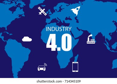 Industry 4.0 and internet of things illustration. World map.
