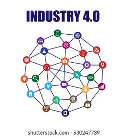 Industry 4.0 and internet of things vector illustration