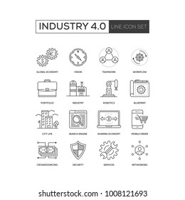 Industry 4.0 Line Icon Set