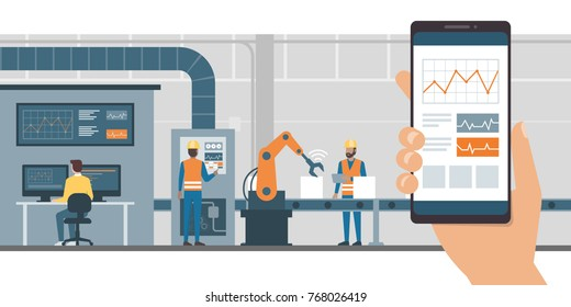 Industry 4.0 monitoring app on a smartphone and smart automated production line with workers and robots on the background