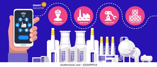Industry 4.0 Physical Systems concept Infographic of smart industry 4.0 automation concept Vector illustration
