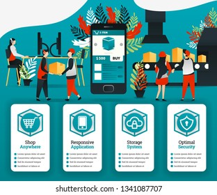 Industry 4.0 revolution, customers can buy items directly from the factory with the application. can use for, landing page, template, ui, web, online promotion, internet marketing, finance, business