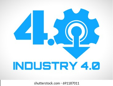 Industry 4.0 Smart Factory concept logo,Gear and arrow to symbolize the industry 4.0