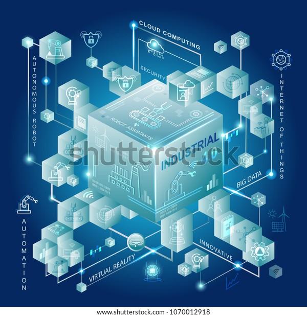 Industrie 4.0 und Smart Manufacturing Konzept. Industrial 4.0 Prozesssystem in der Industrie und Verbindung mit Automatisierung, Roboter, Datenmanagement.