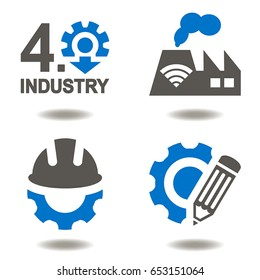 Industry 4.0 vector icon set. Industrial innovative information technologies illustrations. Smart factory integration. Automation Modernization Engineering in manufacture. AI IOT Development Learning.