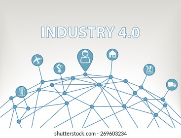 Industry 4.0 vector illustration background with world grid and consumer connected to devices like industrial plants, robots, transportation, airplanes and smart home