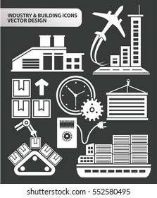 Industry and building icon set,clean vector