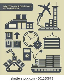 Industry and building icon set,vector