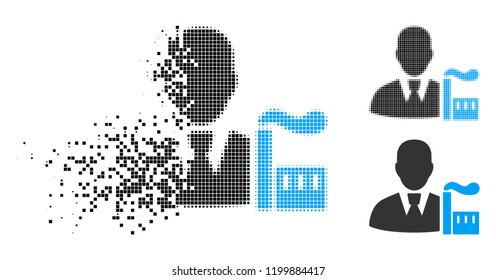Industry capitalist icon in disappearing, dotted halftone and undamaged whole variants. Elements are composed into vector disappearing industry capitalist pictogram.