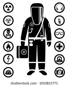 Industry concept. Black silhouette of worker in protective suit. Safety and health vector icons. Set of signs: chemical, radioactive, dangerous, toxic, poisonous, hazardous substances.