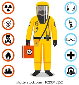 Industry concept. Detailed illustration of worker in yellow protective suit. Safety and health vector icons. Set of signs: chemical, radioactive, dangerous, toxic, poisonous, hazardous substances.