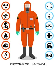 Industry concept. Detailed illustration of worker in orange protective suit. Safety and health vector icons. Set of signs: chemical, radioactive, dangerous, toxic, poisonous, hazardous substances.