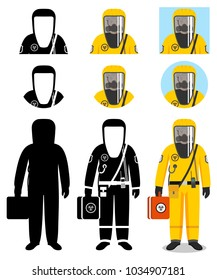 Industry concept. Illustration of worker in protective suit. Protection from chemical, radioactive, dangerous, toxic, poisonous, hazardous substances. Differences people characters avatars icons.