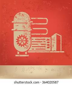 Industry design on red background,grunge vector