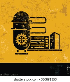 Industry design on yellow background,grunge vector