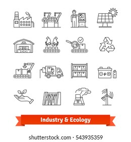 Industry & Ecology thin line art icons set. Production lines, logistics and various types of power stations. Linear style symbols isolated on white.