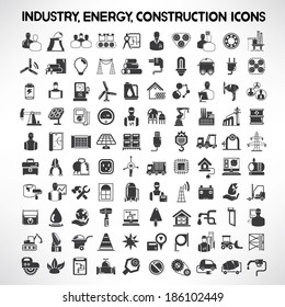 industry, energy and construction icons set, industrial and engineering detail buttons