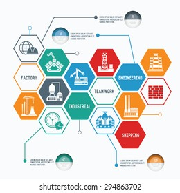 Industry and engineer concept, Line chart info graphic design, clean vector