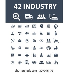 industry, factory, management, business icons