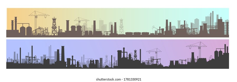 Industry, factory and manufacture landscape vector illustrations. Cartoon flat industrial panoramic area with manufacturing plants, power stations, warehouses, cooling tower silhouettes background - Shutterstock ID 1781330921