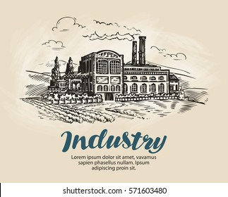 Industry, factory sketch. Industrial production, manufacture. Vintage vector illustration