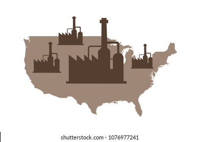 Industry and factory in United states of America ( USA ). Production, work, and manufacturing in the American country. Vector illustration