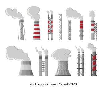 Industry factory vector industrial chimney pollution with smoke. Fossil fuel, coal burning process. Toxic fumes, heavy chemicals emission. Air pollution, global warming symbol