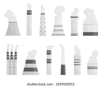 Industry factory vector industrial chimney pollution with smoke in environment illustration. Collection of pipe structure, tower industrial chimney