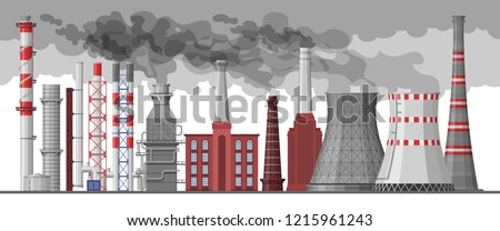 Industry factory vector industrial chimney pollution with smoke in environment illustration set of chimneyed pipe factory with toxic air cityscape on white background