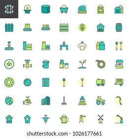 Industry and farming filled outline icons set, line vector symbol collection, linear colorful pictogram pack. Signs, logo illustration, Set includes icons as windmill, tractor, barn, factory