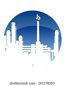 Industry and fuel refinery icon logo with a petrochemical plant with a burning flame in a white silhouette in a blue circle conceptual of power and energy