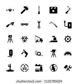 Industry icon. collection of 25 industry filled icons such as barn, wrench, trowel, theodolite, nail gun, tape, blowtorch. editable industry icons for web and mobile.