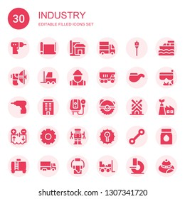 industry icon set. Collection of 30 filled industry icons included Driller, Paper roll, Blueprint, Delivery truck, Auger, Parabolic, Forklift, Worker, Truck, Pipe, Building, Water heater