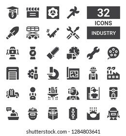 industry icon set. Collection of 32 filled industry icons included Robot, Submerge, Blade, Helmet, Welder, Worker, Water heater, d printer, Cyborg, Building, Truck, Factory, Blueprint