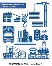 Industry icon set design,clean vector