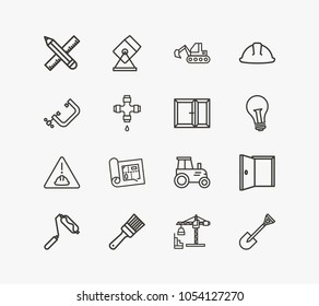 Industry icon set and pencil with ruler with construction site, build planning and construction helmet. Lifting tower related industry icon vector items for web UI logo design.