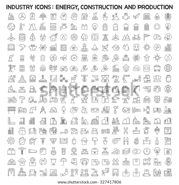 industry icons; energy, construction, production, manufacturing icons
