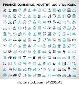 industry icons, finance icons, commerce icons, logistics and shipping icons set